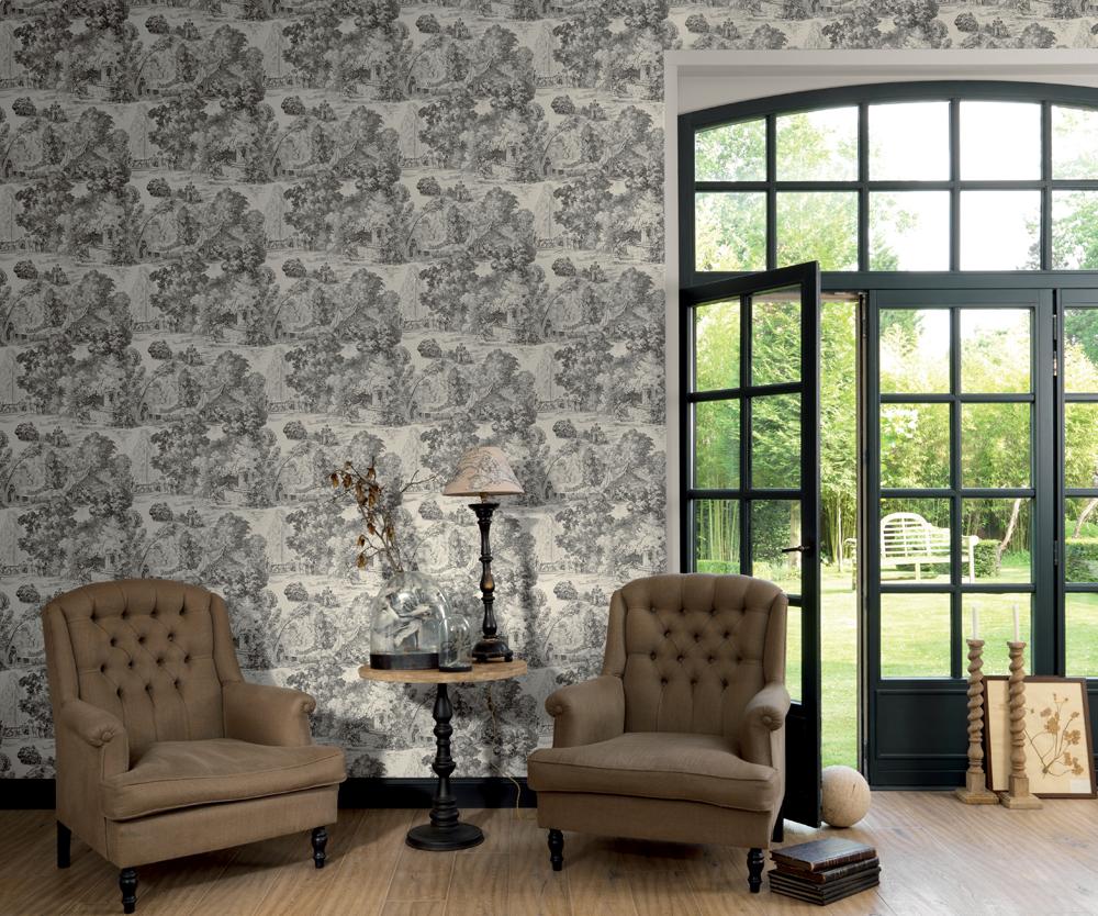 le papier peint toile de jouy tendance pour. Black Bedroom Furniture Sets. Home Design Ideas