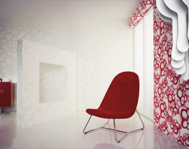 decoration murale rouge vintage The 70's are back, les papiers peints vintage et pop