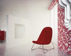 Décoration murale rouge vintage