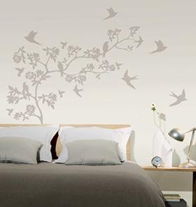 decoration murale branches oiseaux Feuillages et petites branches envahissent votre décoration murale