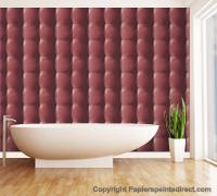 Papier peint cuir capitonné rouge de Grandéco