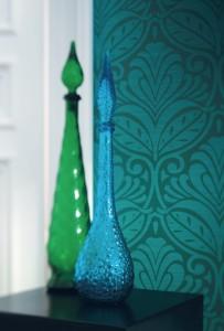 Papier peint baroque bleu canard et vert kaki métallisé
