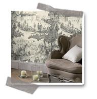 le papier peint toile de jouy tendance pour toujoursd coration murale le blog. Black Bedroom Furniture Sets. Home Design Ideas