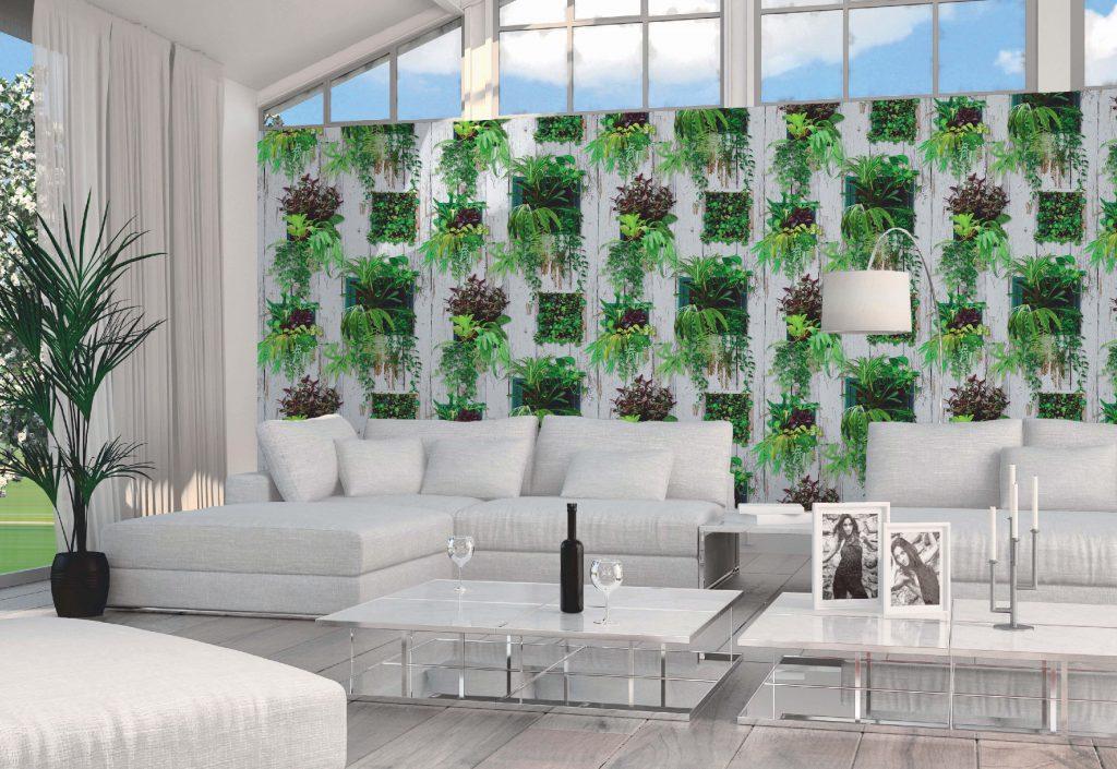 Mur végétal en papier peint