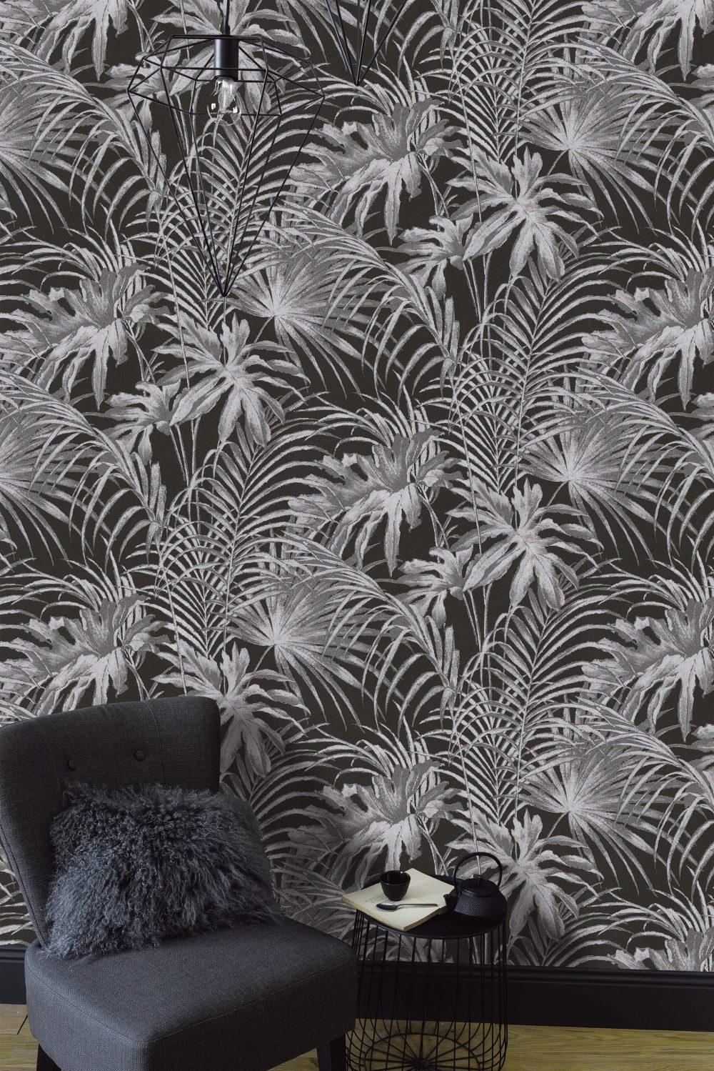 Papier peint à feuillage Jungle en Noir et Blanc