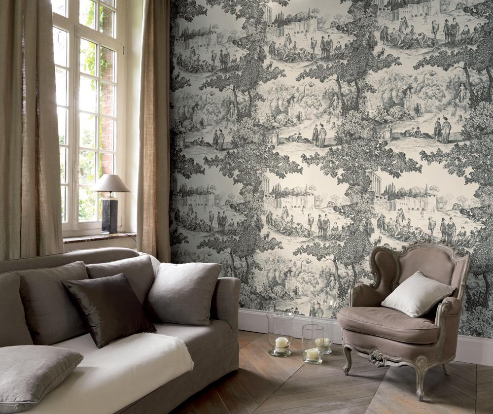 Papier peint panoramique Toile de Jouy en noir et blanc