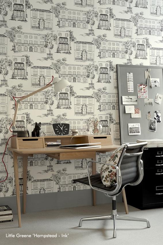 Papier peint Hampstead noir et blanc