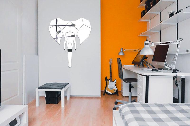 Joli miroir géométrique éléphant pour votre décoration murale