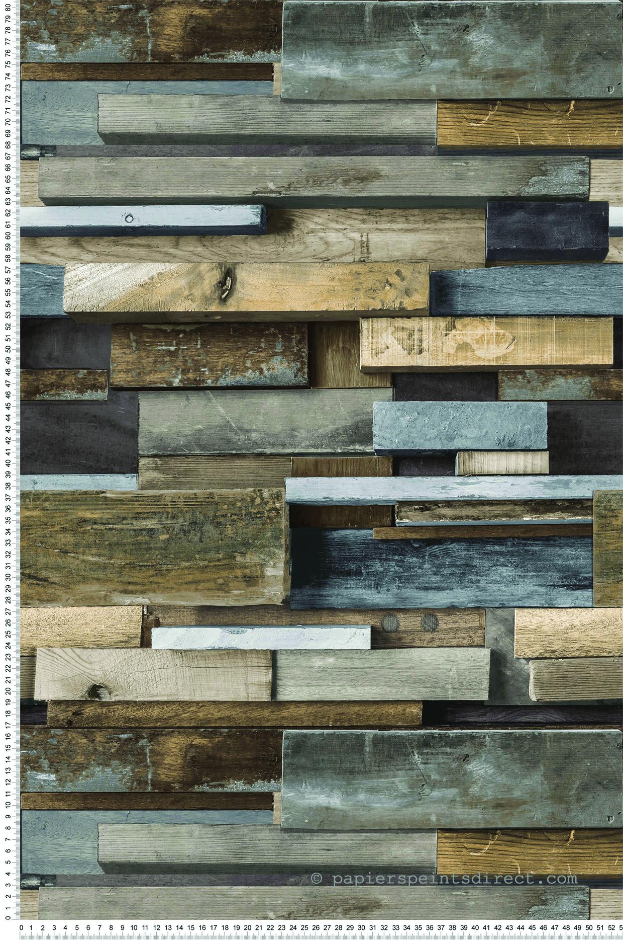 Style industriel : papier peint bois empilé