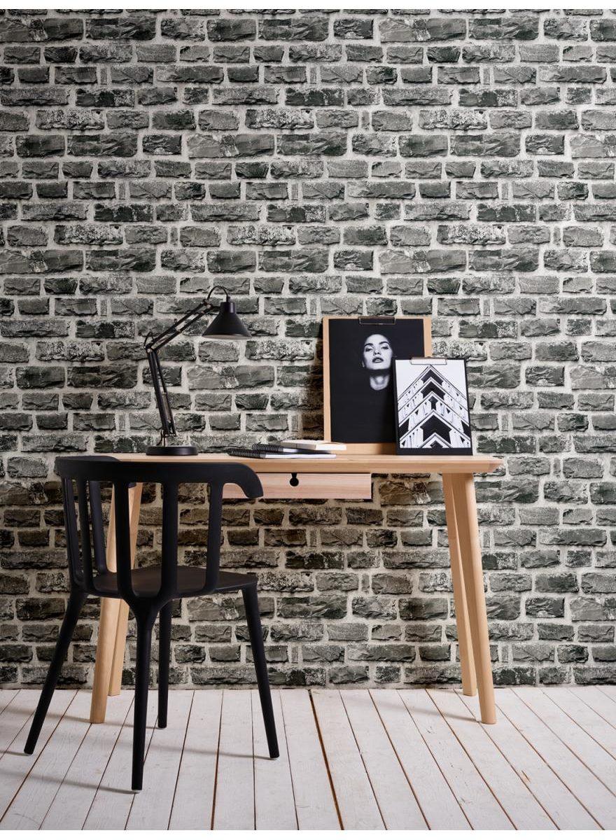 papier peint brique trompe l'oeil
