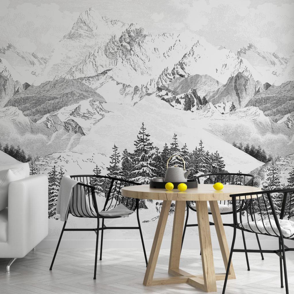 Décorer pour louer à la montagne avec un papier peint Isidore Leroy