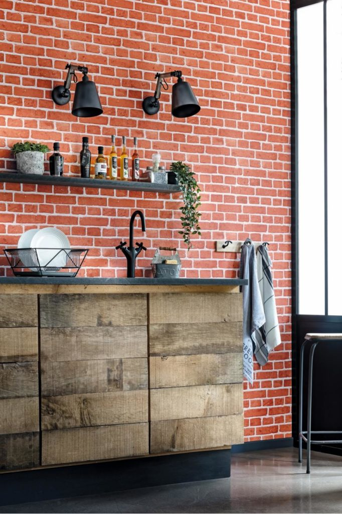 papier peint mur de brique pour un style atelier d'artiste