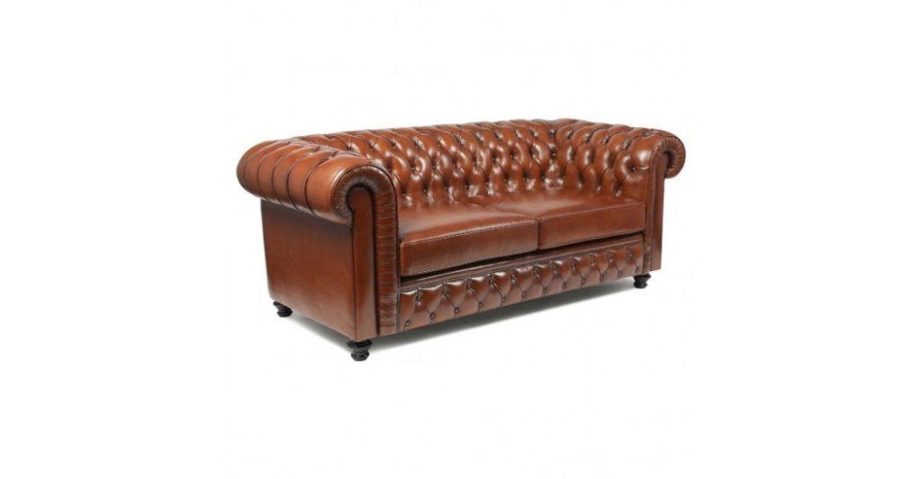 Canapé Chesterfield en cuir ancien