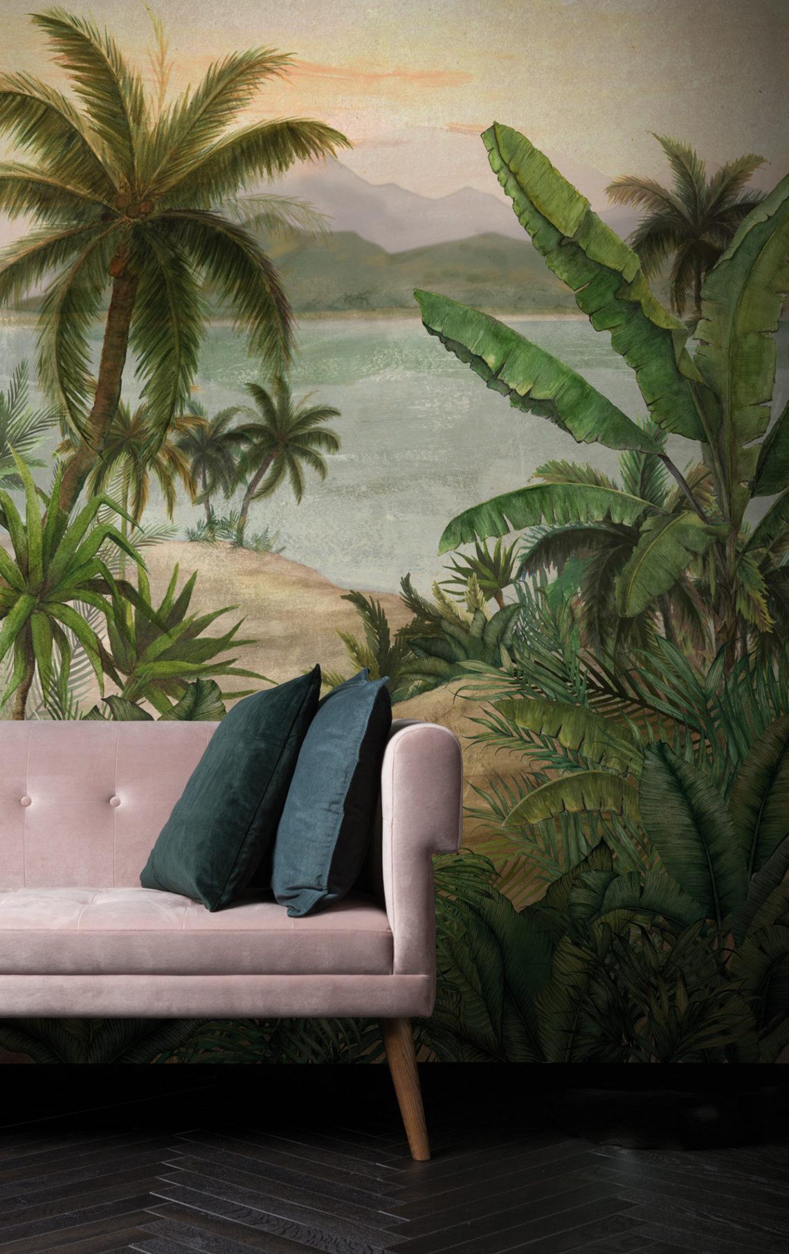 Une ambiance Jungle avec ce papier peint panoramique de la collection Pondichery de Montecolino