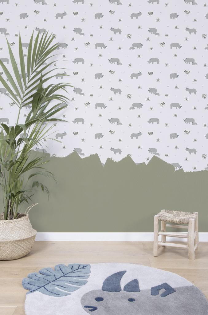 Papier peint et tapis Rhino pour chambre d'enfant