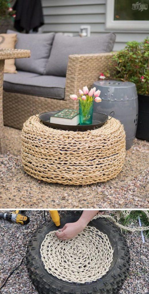 Quand un pneu usagé est transformé en accessoire déco.