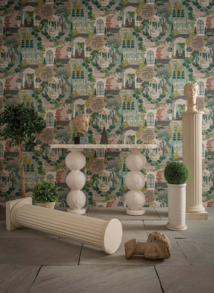 Papier peint représentant une ville romaine et de la végétation, parfait pour décorer une chambre